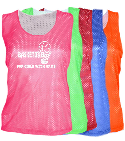 """Basketball Pinnie """"For Girls with Game"""" Logo"""