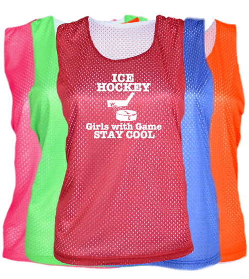 "Ice Hockey Pinnie ""Girls with Game Stay Cool"" Logo"