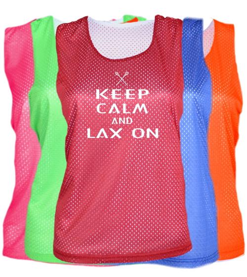 "Lacrosse Pinnie ""Keep Calm Lax On"" White Logo"