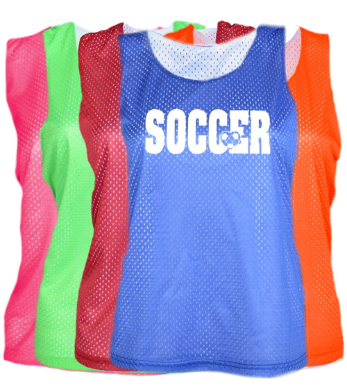 "Soccer Pinnie ""Soccer with Heart"" White Logo"