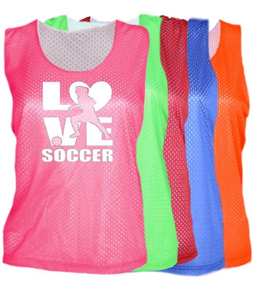 "Soccer Pinnie ""Love Soccer"" Logo"