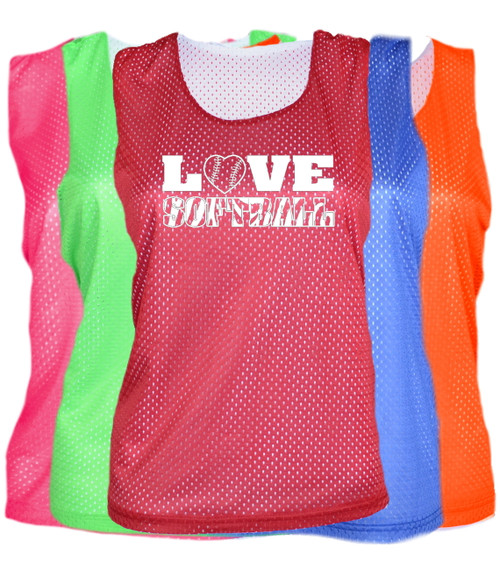 "Softball Pinnie ""Love Softball"" White Logo"