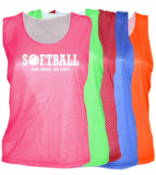 "Softball Pinnie ""Play Tough Get Dirty"" White Logo"