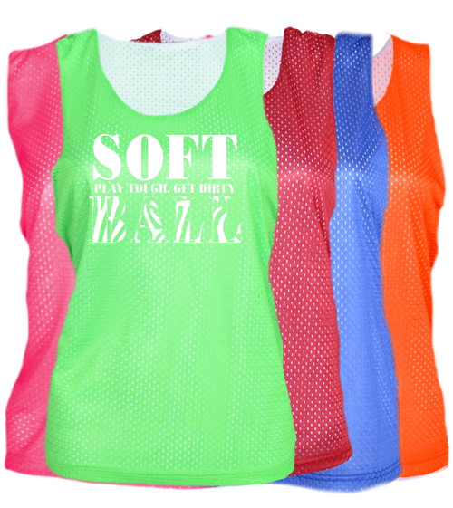 "Softball Pinnie ""Stacked"" White Logo"