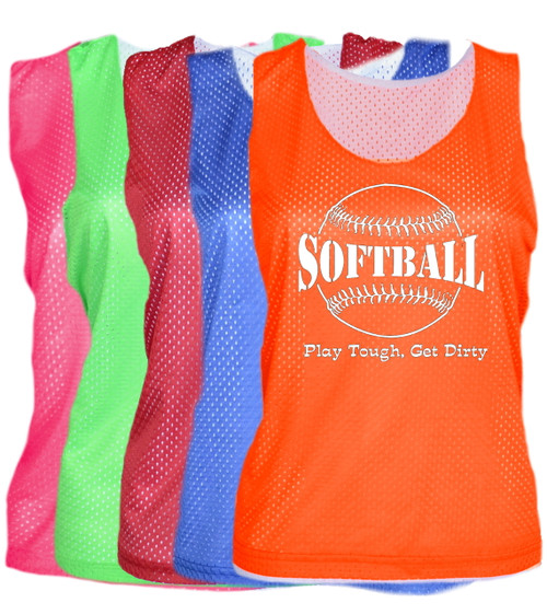 "Softball Pinnie ""Play Tough Get Dirty"" Large Logo"