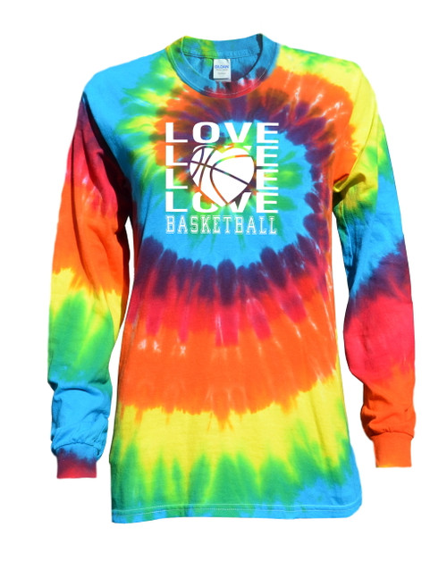 "Basketball Tie Dye Rainbow Long Sleeve ""Love Basketball"" Logo"