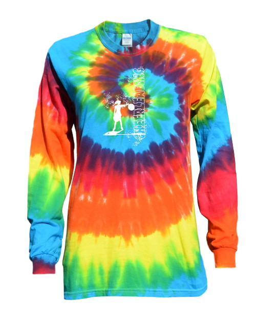 "Cheerleading Tie Dye Rainbow Long Sleeve ""Cheerleader"" Logo"