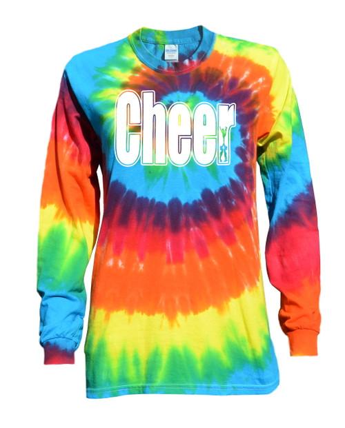 "Cheerleading Tie Dye Rainbow Long Sleeve ""Cheer"" Logo"