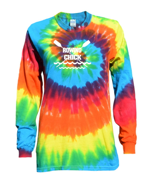 "Crew Tie Dye Rainbow Long Sleeve ""Rowing Chick"" Logo"