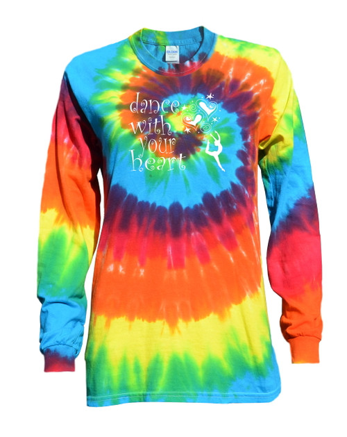 "Dance Tie Dye Rainbow Long Sleeve ""Dance with your Heart"" Logo"