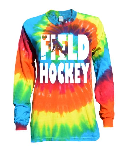 "Field Hockey Tie Dye Rainbow Long Sleeve ""Stacked"" Logo"
