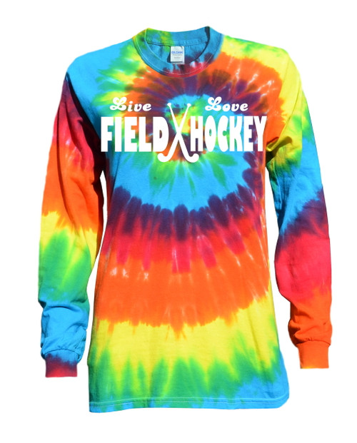 "Field Hockey Tie Dye Rainbow Long Sleeve ""Live Love"" Logo"