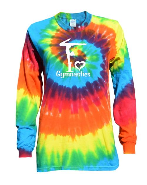 "Gymnastics Tie Dye Rainbow Long Sleeve ""I Love Gymnastics"" Logo"