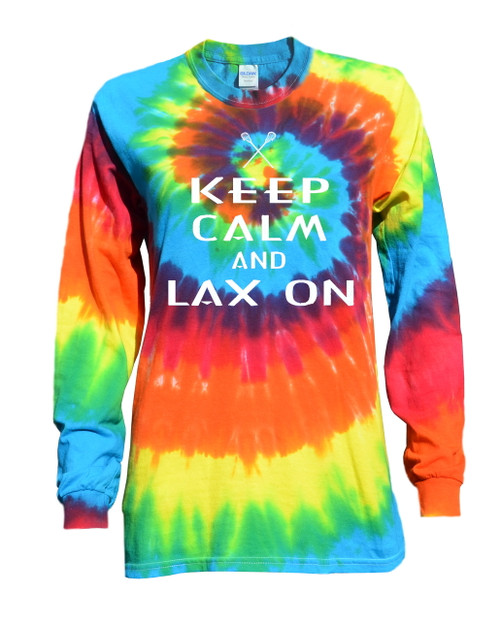 "Lacrosse Tie Dye Rainbow Long Sleeve ""Keep Calm"" White Logo"