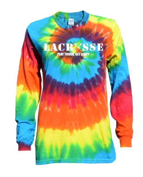 """Lacrosse Tie Dye Rainbow Long Sleeve """"Lacrosse"""" White Logo"""