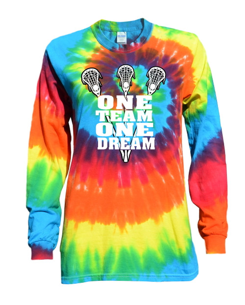"Lacrosse Tie Dye Rainbow Long Sleeve ""One Team"" Logo"
