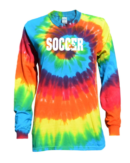 "Soccer Tie Dye Rainbow Long Sleeve ""Soccer with Heart"" White Logo"