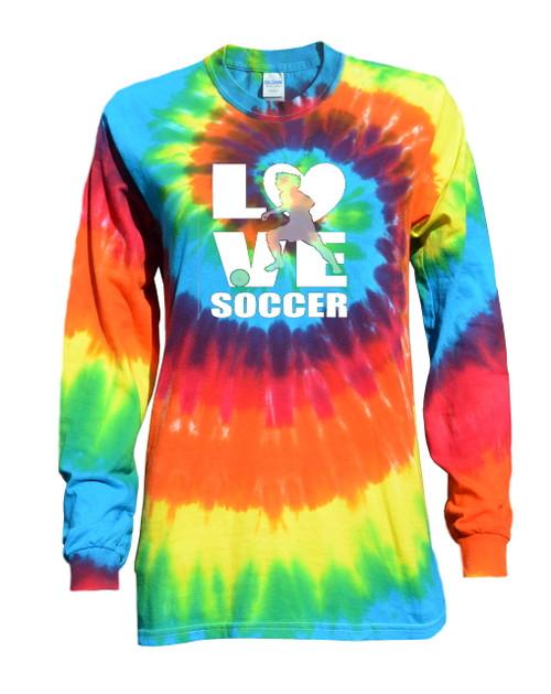 "Soccer Tie Dye Rainbow Long Sleeve ""Love Soccer"" Logo"