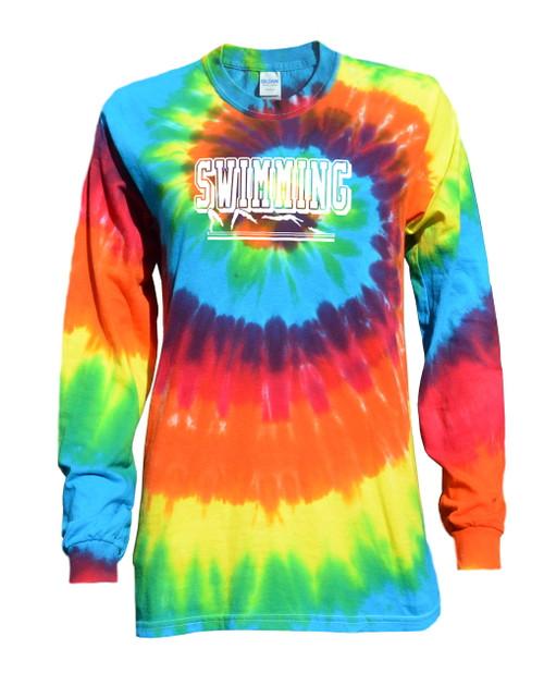 "Swimming Tie Dye Rainbow Long Sleeve ""Swimmer"" Logo"