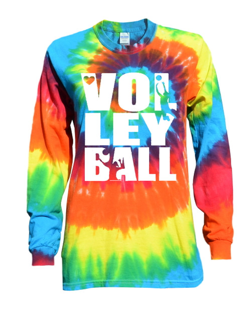 "Volleyball Tie Dye Rainbow Long Sleeve ""Stacked"" Logo"