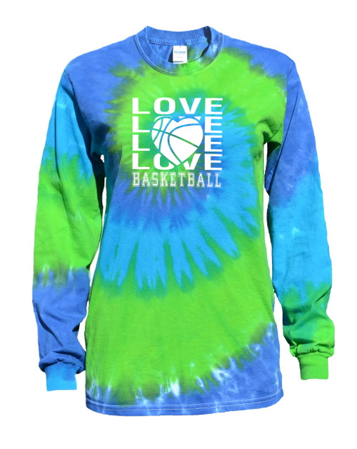 "Basketball Tie Dye Blue/Green Long Sleeve ""Love Basketball"" Logo"