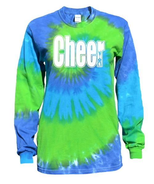 "Cheerleading Tie Dye Blue/Green Long Sleeve ""Cheer"" Logo"