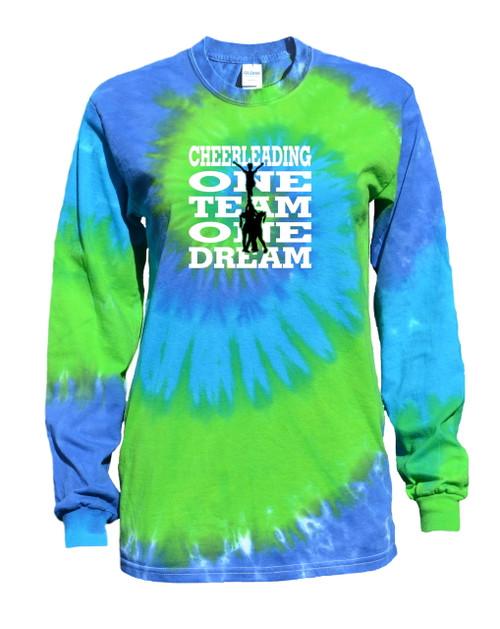"Cheerleading Tie Dye Blue/Green Long Sleeve ""One Team One Dream"" Logo"
