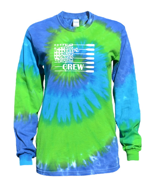 "Crew Tie Dye Blue/Green Long Sleeve ""Live Love"" Logo"