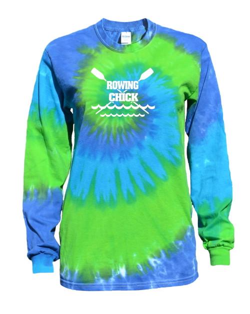 "Crew Tie Dye Blue/Green Long Sleeve ""Rowing Chick"" Logo"