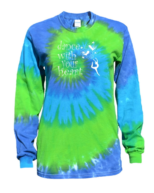 "Dance Tie Dye Blue/Green Long Sleeve ""Dance with your Heart"" Logo"