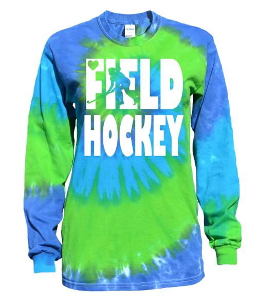 """Field Hockey Tie Dye Blue/Green Long Sleeve """"Stacked"""" Logo"""