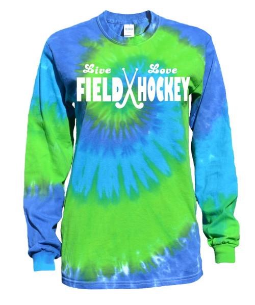 """Field Hockey Tie Dye Blue/Green Long Sleeve """"Live Love"""" Logo"""