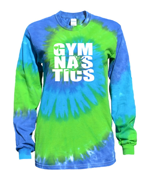 "Gymnastics Tie Dye Blue/Green Long Sleeve ""Stacked"" Logo"
