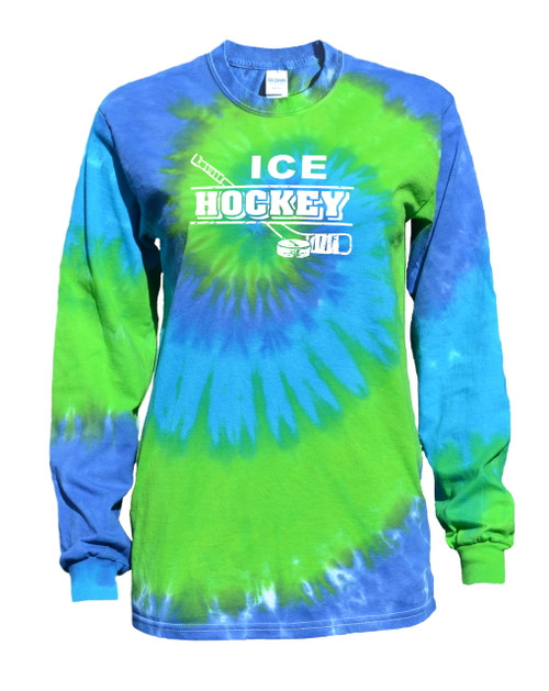 "Ice Hockey Tie Dye Blue/Green Long Sleeve ""Distressed"" Logo"