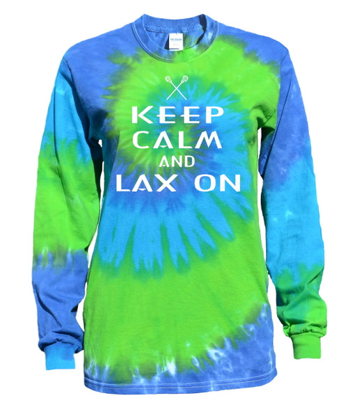 "Lacrosse Tie Dye Blue/Green Long Sleeve ""Keep Calm"" White Logo"