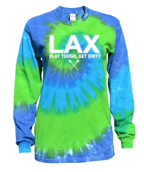 "Lacrosse Tie Dye Blue/Green Long Sleeve ""LAX"" White Logo"