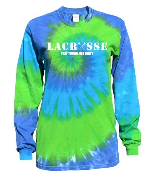 "Lacrosse Tie Dye Blue/Green Long Sleeve ""Lacrosse"" White Logo"