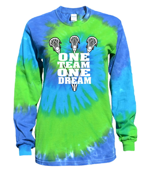 "Lacrosse Tie Dye Blue/Green Long Sleeve ""One Team"" Logo"