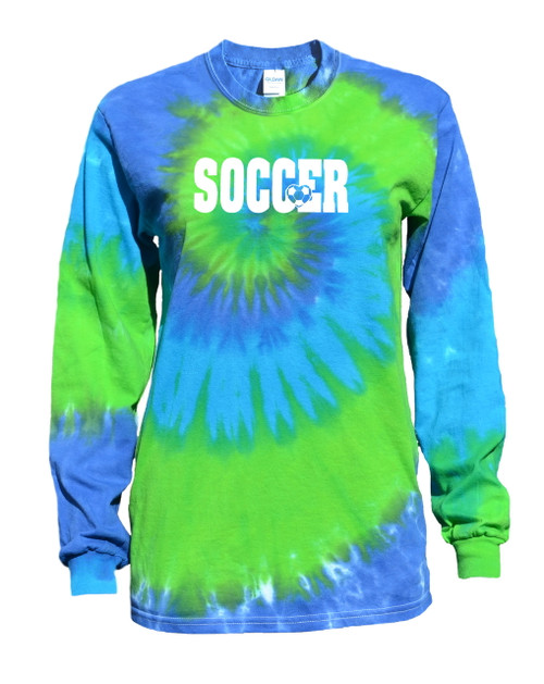 "Soccer Tie Dye Blue/Green Long Sleeve ""Soccer with Heart"" White Logo"