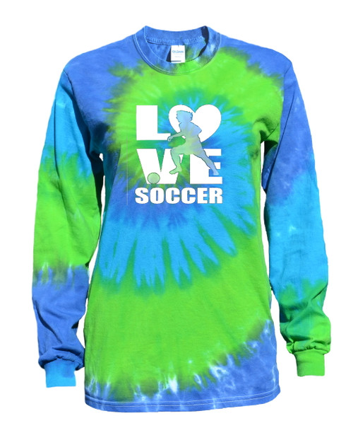 "Soccer Tie Dye Blue/Green Long Sleeve ""Love Soccer"" Logo"