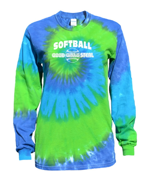 "Softball Tie Dye Blue/Green Long Sleeve ""Good Girls Steal"" Logo"