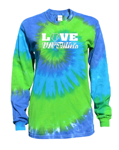 "Softball Tie Dye Blue/Green Long Sleeve ""Love Softball"" White Logo"