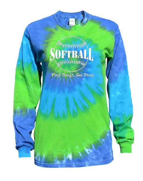 "Softball Tie Dye Blue/Green Long Sleeve ""Play Tough"" Large Logo"