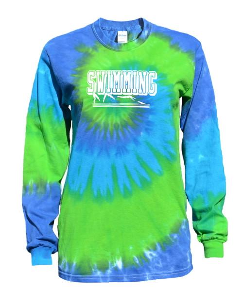 """Swimming Tie Dye Blue/Green Long Sleeve """"Swimmer"""" Logo"""