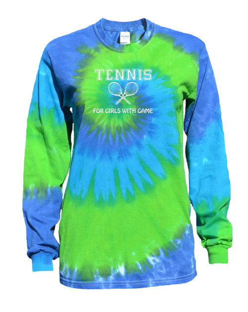 "Tennis Tie Dye Blue/Green Long Sleeve ""Girls with Game"" Logo"