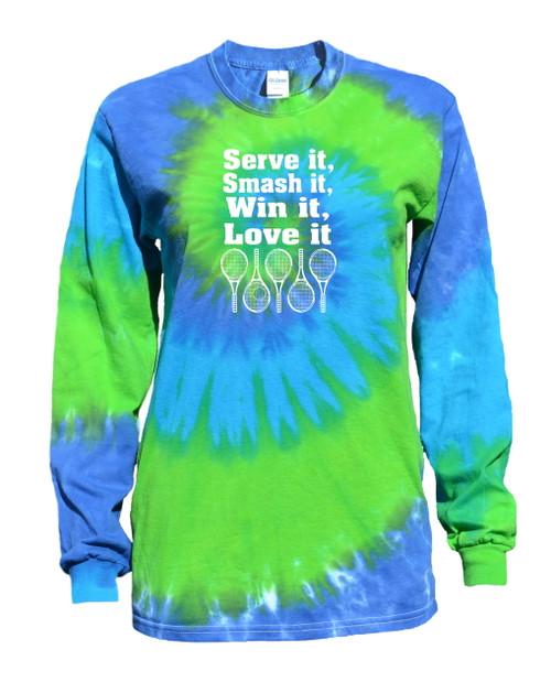 """Tennis Tie Dye Blue/Green Long Sleeve """"Serve It Smash It"""" Logo"""