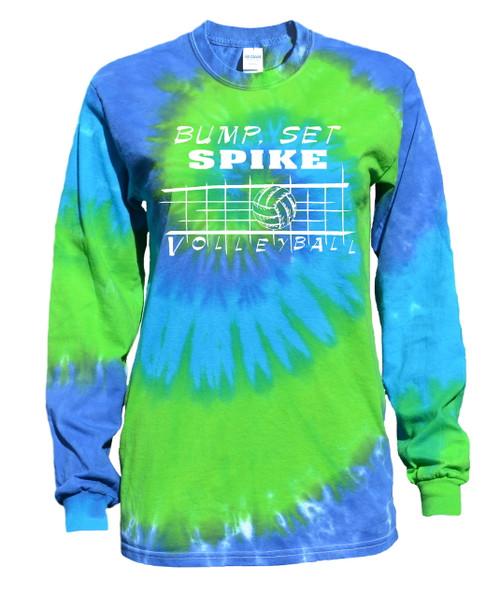 "Volleyball Tie Dye Blue/Green Long Sleeve ""Bump Set Spike"" Logo"
