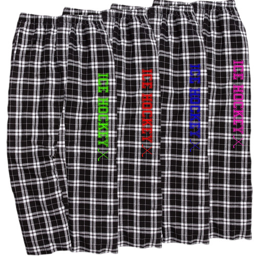 Ice Hockey Black/White Flannel Pants