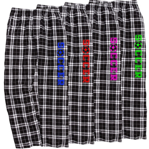 Soccer Black/White Flannel Pants