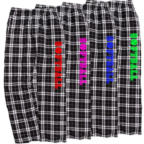 Softball Black/White Flannel Pants